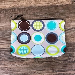 Thirty One large grey circles canvas zip pouch